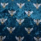 Velvet - Curtains Soft Furnishings Fabric - Embroidered Bees Turquoise